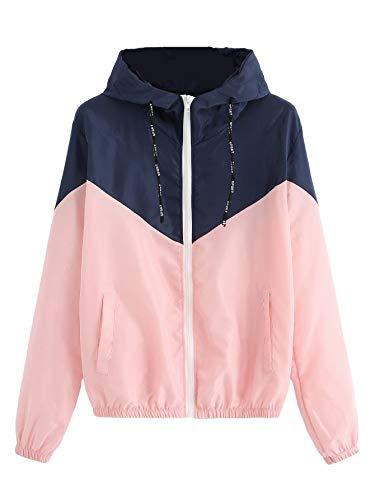 SweatyRocks Women's Casual Color Block Drawstring Hooded Windbreaker Jacket Navy Pink L