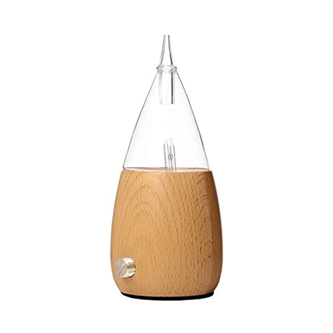 密接にバブル閉じ込めるWaterless Essential Oil Nebulizer with Fast Difussion、超音波アロマテラピーFragrant Oil Vaporizer加湿器、自然と芸術的夜ライトギフトfor Friends in木製とガラス