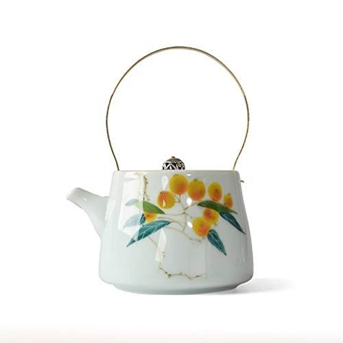 Ceramic Teapot Ceramic Teapot Hand-Painted Underglaze Celadon Large Capacity Tea and Tea Bag Handle Tea Pot for Loose Leaf Tea (Color : White, Size : 200ml)