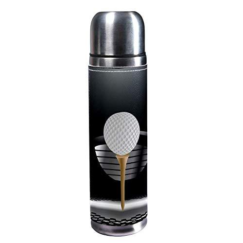 MUMIMI Botella de Agua de Acero Inoxidable aislada al vacío, 17 onzas, para Deportes, café, Viaje, Termo, Termo, Cuero Genuino, sin BPA, Pelota de Golf en la tee con Palo en el Foco