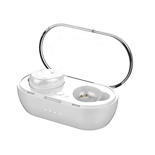 Bluetooth 5.0 Wireless Earbuds with Wireless Charging Case, IPX Waterproof, TWS Stereo Headphones in Ear Built in Mic Headset HiFi Sound with Deep Bass for Sport (White)