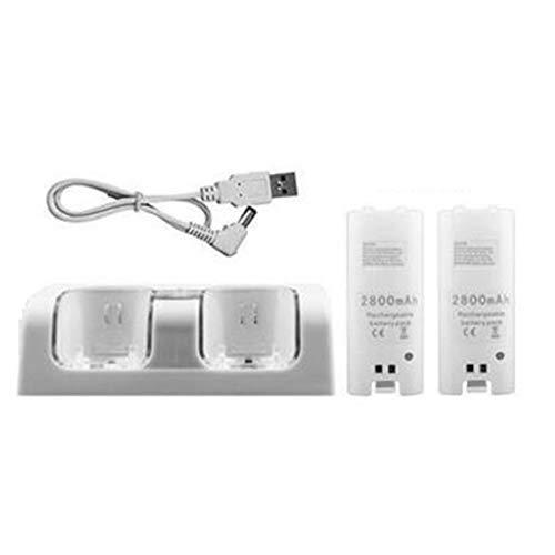 Zinniaya Para Nintend Wii Mando a Distancia Cargador Estación de Carga +2 Baterías Accesorios para Juegos