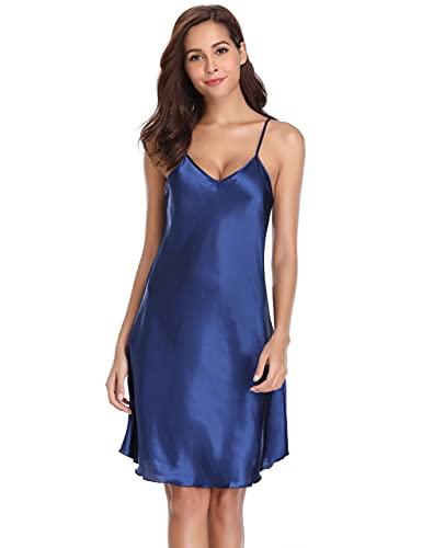 Vlazom Satin Nightshirts Sexy Nightdress Spaghetti Strap Negligee Nightgown Chemise Slip with Deep V Neck Navy
