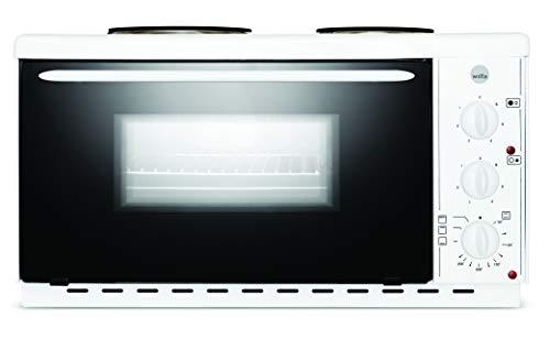 Wilfa HYBEL Minihorno con placas de cocina - Con 2 potentes placas de cocina, calor superior e inferior y grill, 22 litros, blanco