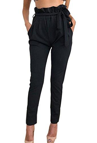 YUPOLB Damen Elegant High Waist Chiffon Stretch Pants Skinny Hosen Casual Streetwear einfarbig Lange Hose mit Tunnelzug, Schwarz, Gr. 34