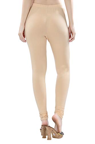 TRASA Ultra Soft Cotton 4 Way Stretchable Churidar Solid Regular and Plus 20 Colours Leggings for Womens and Girls -Size :-M, Colour - Cream
