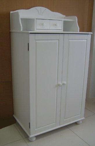 PC-Schrank aus massiver Kiefer mit Aufsatz (weiß)