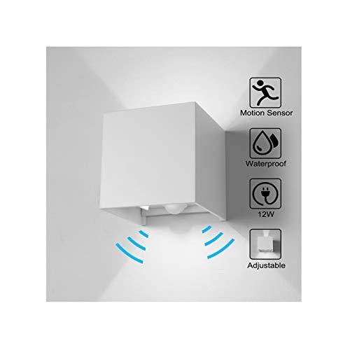 Wandleuchte Bewegungsmelder Aussen/Bewegungsmelder Innen LED Wandlampe, 12W Kaltweiss Licht Wasserdicht Verstellbare Aussenlampe, Wandleuchte Sensor für Garten/Flur/Weg Veranda Hell-Weiß (Weiß)