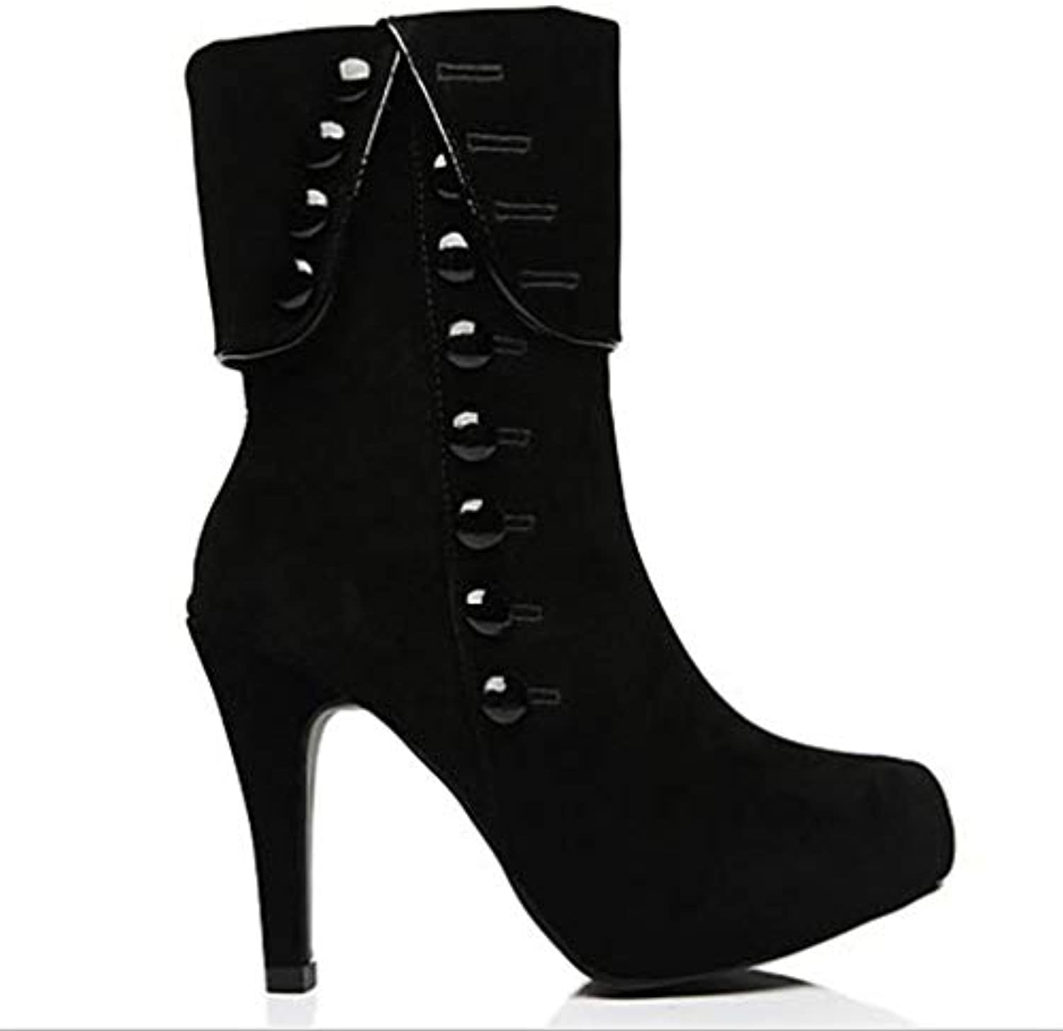 T-JULY Women's Autumn Winter Super High Heels Vintage Boots Fashion Casual shoes SuedeThin Heel Ankle Boots