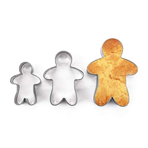 Hemore - Stampi per biscotti a forma di omino di pan di zenzero in acciaio INOX, 3 pezzi