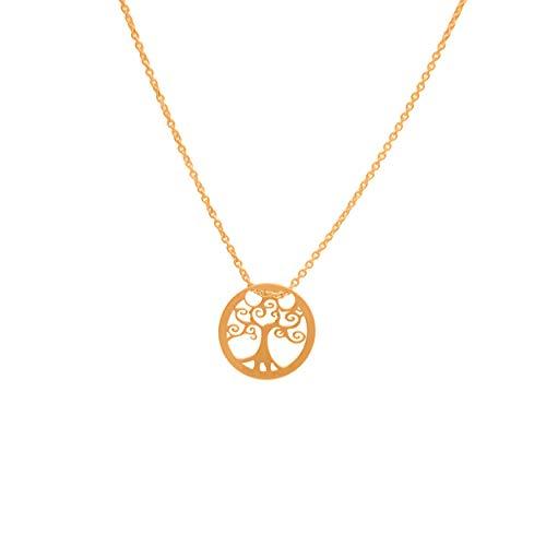 Goldene Damen Halskette 333 8k Gold Gelbgold Kette mit Anhänger Baum des Lebens Gravur