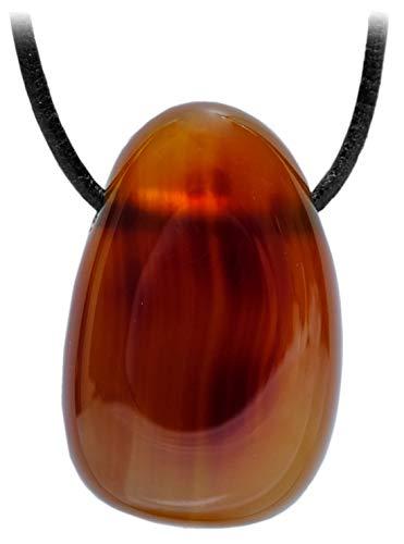 Kaltner Präsente Idea de regalo – Collar de cuero para hombre y mujer con colgante de piedra de cornalina