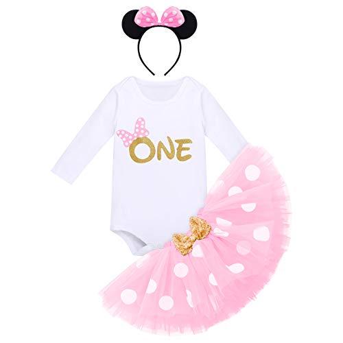 Baby Mädchen 1. Geburtstag Outfit Minnie Maus Kostüm Baumwolle Langarm Body Strampler Prinzessin Gepunktet Tütü Tüll Rock Stirnband 3tlg 1 Jahr Party Bekleidungsset Fotoshooting Rosa - One 1 Jahr