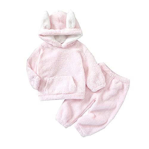 Conjunto de polainas con capucha y forro polar para niñas de bebé de manga larga y pantalones de invierno para otoño ropa cálida, rosa, 6-12 Meses
