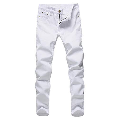 ShFhhwrl Vaqueros de Moda clásica Pantalones Vaqueros Elásticos para Hombre, Pantalones De Mezclilla Blancos De Moda para Hombre,