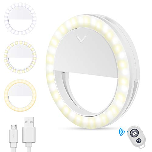 [2020 Latest Version] Selfie Ring Light, Long-Lasting Battery Life Selfie Light with 4 Lighting Modes & 40 LED Lights Clip-on Ring Light for Phone Laptop,Photography Video Conference and Makeup