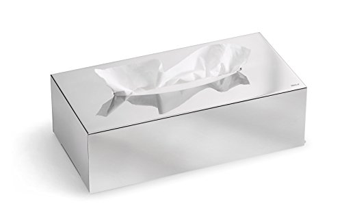blomus -NEXIO- Kleenexbox aus poliertem Edelstahl, Kosmetiktuchbox für alle Papiertücher, Papiertuchspender Ein-Hand-Bedienung, exklusives Badaccessoire (H / B / T: 7,5 x 24 x 12 cm, Edelstahl, 66660)