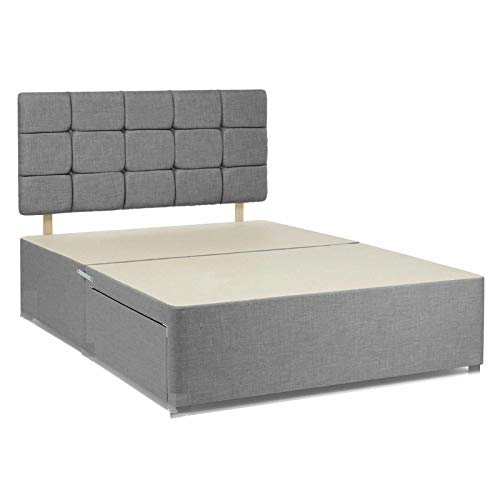 Grey chenille fabric divan bed base with headboard and drawers on same side. (4FT6 Double-2 drawers)