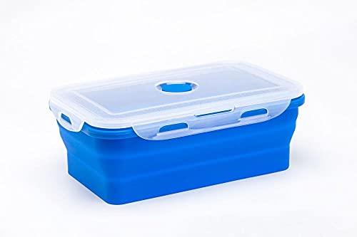 Charm4you Fiambrera de Silicona,Caja Plegable de Silicona para Alimentos Frescos-Blue_540ml,Portátil Plegable de Silicona de Bento Box
