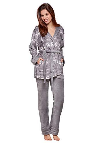 Selente Sweet Dreams Soffice completo donna per casa in caldo pile: vestaglia con tasche, cappuccio, cintura e pantaloni, grigio renne, M