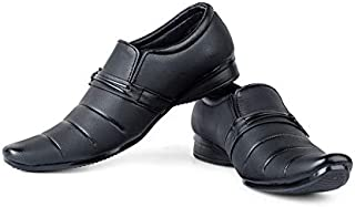 AADI Men's Synthetic Leather Black Slip On Formal Shoes