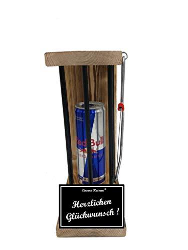 * Herzlichen Glückwunsch - Eiserne Reserve ® Black Edition Red Bull 0,473L incl. Säge zum zersägen der Stäbe - Die lustige Geschenkidee