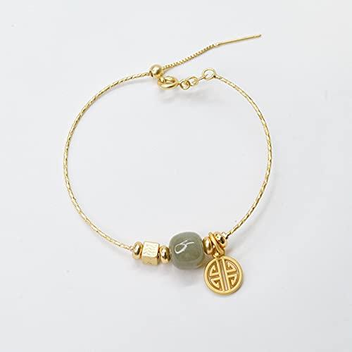 QiuYueShangMao Brazaletes de Jade de Color Dorado Vintage, brazaletes étnicos Ajustables Simples, brazaletes para Mujeres, joyería de Moda, Regalo, joyería de la Amistad