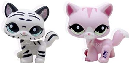 2pcs Littlest Pet Shop LPS Tiger White Pink Cat Kitty Toy #1788 #1498 Animal