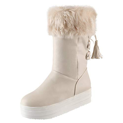 ZODOF Botas de Mujer Botas Medias de Mujer de Moda con Cordones Flecos talón Plano Zapatos de Nieve de Invierno