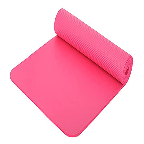 QGSM Esterilla de yoga natural gruesa de yoga unisex con textura antideslizante adecuada para yoga, aeróbicos, pilates y pilates fácil de llevar rosa 183 x 61 x 1 cm