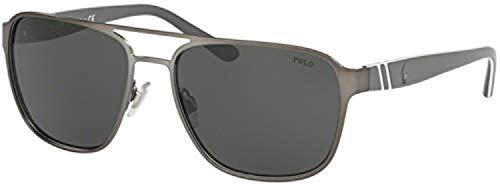 Ph3125 - anteojos de sol cuadradas de metal, Azul marino mate/azul oscuro., 57mm