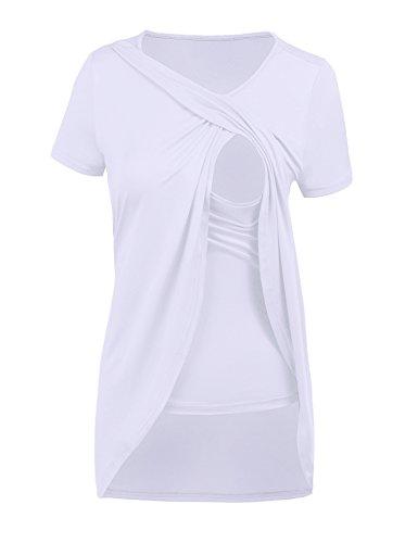 Tinkwell Womens Maternity Nursing Short Sleeve Pregnant Breastfeeding Blouse...