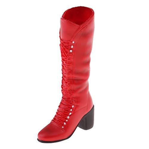 Generic 1/6 Modell Weibliche Stiefelschuhe für 12 Zoll Actionfigur Körper - Rot