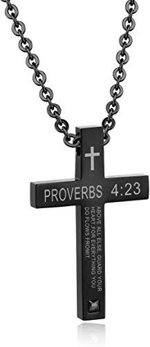 NC110 Biblia Cruz Colgante religión Hombres y Mujeres Pareja Estudiantes Collar de Acero de Titanio Colgante Oro Mujeres-Hombres_Negro