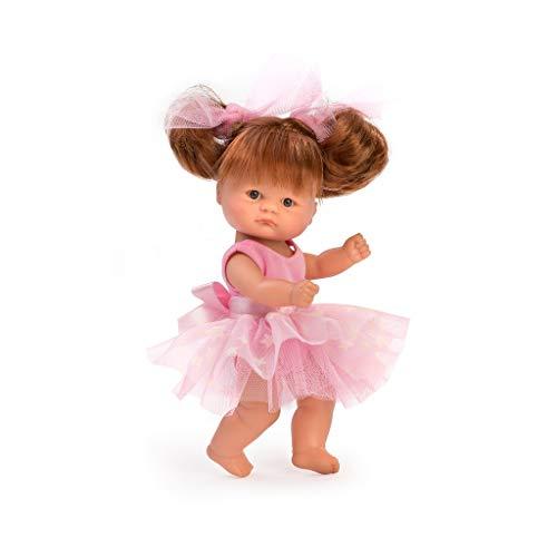 Muñecas Así Bomboncín con mallot de Ballet. Cuerpo articulado, Pelirroja y Ojos Grises. 20 cm.