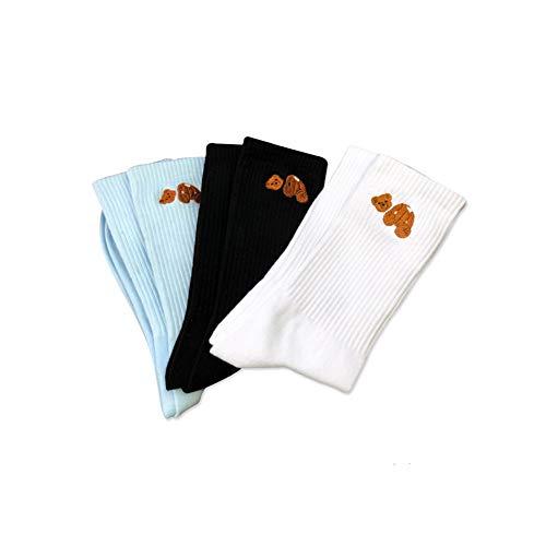 3 Paar Palme entkapitierter Bär Herren Damen Reine Baumwolle Sport Tube Socken Engel Basketball Socken Skateboard Socken