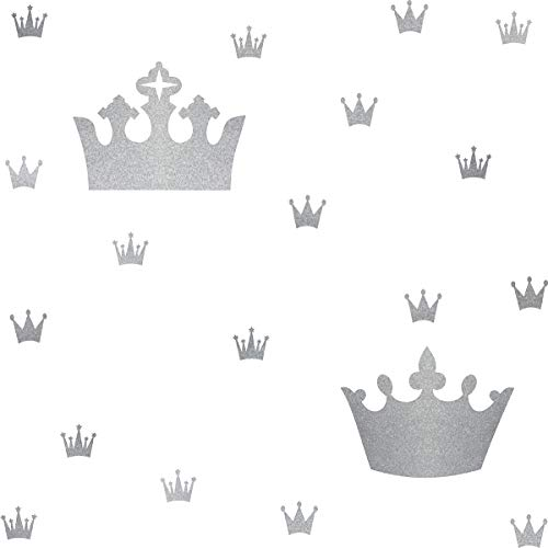 Princess Crown Stickers Crown Wall Decals Crown in The Wall Nursery Decor Girls Bedroom Wall Sticker DIY Room Decoration Peel&Stick Wall Stickers-Metallic Silver