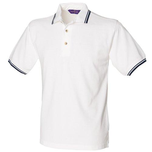 Henbury - Polo à Manches Courtes - Homme (2XL) (Blanc/Bouts Bleu Marine)