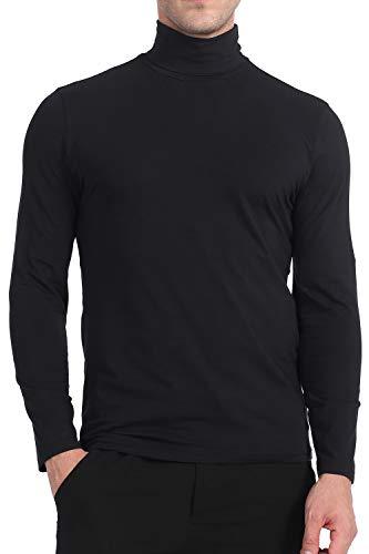 Yostylish Premium Cotton Blend Interlock Turtleneck Men T-Shirt Black