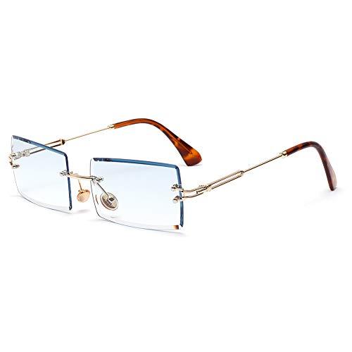 Fuyamp Quadratische Sonnenbrille, Sommer-Stil, weibliche Sonnenbrille für Damen, Retro, klein, rechteckig, randlos (TYPE4)