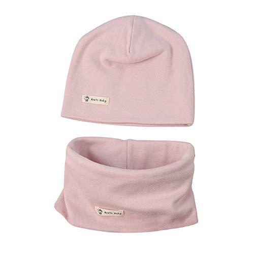 LACOFIA Conjunto de Sombrero y Bufanda de Cuello para bebé ninos y Ninas Gorro de algodón Recien Nacido Sombreros de Punto y pañuelos de Cuello Infantiles Rosa 3-7 años