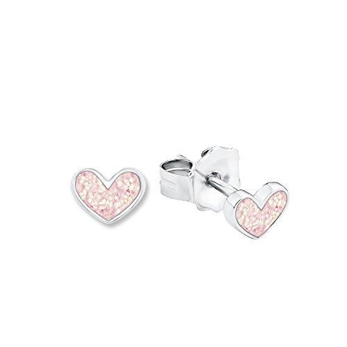 Prinzessin Lillifee Kinder-Ohrstecker Herzen 925 Silber rhodiniert Emaille - 541978, rosa, onesize, 9048885