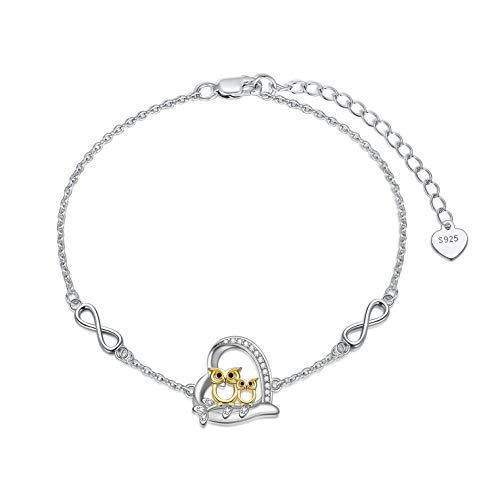 Pulseras de plata de ley 925 con diseño de búho, corazón y corazón de búho, pulseras infinitas, regalos para mujeres y niñas, amantes del búho