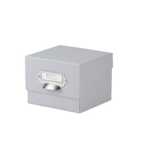 Rössler 1325452170 - Caja organizadora de fotos con tapa y porta etiquetas, color Gris (Stone)