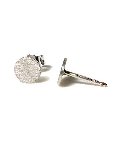 Ohrringe Silber 925 | echte Handmade Ohrstecker rund 6mm Eis-Matt | perfektes Geschenk für Damen, Herren, Mädchen | Schmuck Set | Statement Ohrringe | Geburtstag