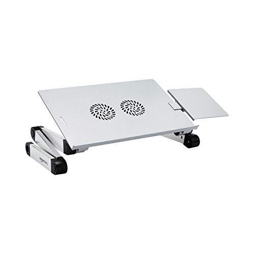AmazonBasics Portable Adjustable Aluminium Laptop Stand with CPU Fans, Silver