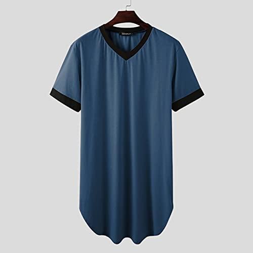 KASLXA Batas de Dormir para Hombre, camisón de Manga Corta con Cuello en V, Ropa de casa, cómoda Bata de baño Suelta de Retazos para Hombre, Bata S-5XL-Blue-6-XXXL