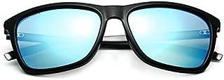 نظارات شمسية مربعة عاكسة ملونة للقيادة للنساء والرجال بإطار أسود وعدسات زرقاء
