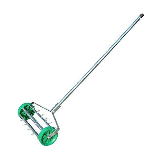 Outsunny Rouleau aérateur pour pelouse avec Manche télescopique 135 x 42 cm Vert