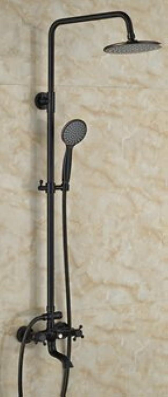 Galvanik Retro Wasserhahn l eingerieben Bronze Dual Griffe Regendusche Wasserhahn runden Duschkopf Mischbatterie W Handbrause, Gelb